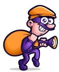 Ladron de Banco con bolsa y lampara