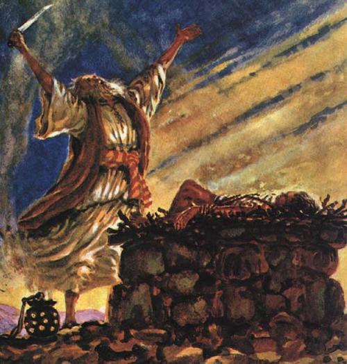 Abraham ofreciendo a su hijo Isaac en sacrificio